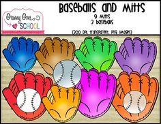 These baseballs and mitts are the perfect graphic for creating literacy and math sorting activities.    The file contains 9 mitts and 3 baseballs.  Black line images are included.  All files are 300 dpi, png. images with transparent backgrounds.  They'll resize beautifully for your various projects.