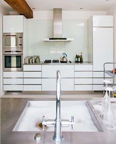 Picture Of trendy minimalist solid glass kitchen backsplashes  26