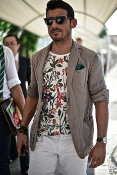 floral shirt with cotton blazer