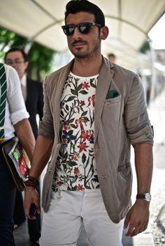 floral shirt with cotton blazer