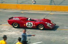 The Chris Amon/MarioAndretti Ferrari 312P, in the 1969 at Sebring Raceway 12 Hours (via RacerMag)