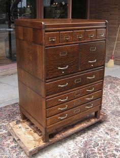 Quartersawn Oak Globe Stacking File Cabinet - www.bradfordsantiques.com