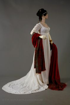 1810s / a blood red shawk over a snow white dress: what a beautiful effect!