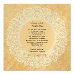 Vintage Yellow Damask Lace Button Ribbon Wedding