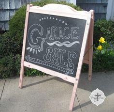 Repurposed Baby Crib Chalkboard Sign via http://prodigalpieces.com