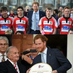 Prince Harry presents Paignton Rugby Club with their RFU Gold Standard facilities award in Devon congratulating the club's significant contributions to promoting rugby in the local community.  Image  Press Association by kensingtonroyal