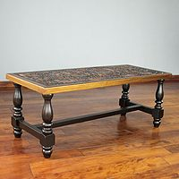 Mohena wood and leather coffee table, 'Andean Birds'