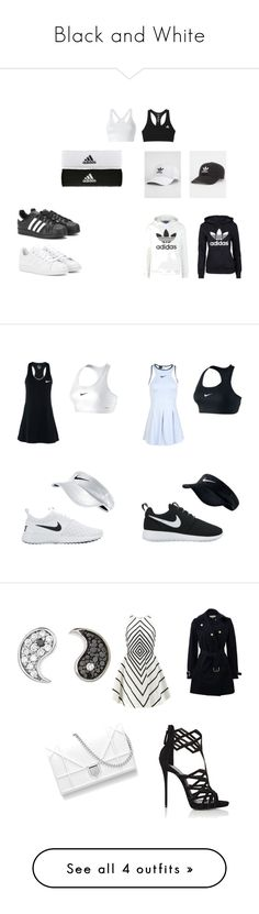 """""""Black and White"""" by hman-granger ❤ liked on Polyvore featuring adidas Originals, adidas, opposites, yinyang, NIKE, dress, nike, tennis, Halston Heritage and STELLA McCARTNEY"""
