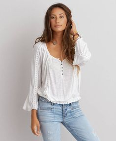 American Eagle Lace Inset Peasant Top, Women's, White