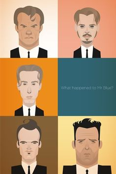 Reservoir Dogs - Fan Art featuring caricatures of Mr White, Mr Pink, Mr Orange, Mr Blue (kind of?), Mr Orange and Mr Blonde Reservoir Dogs, Caricatures, Hollywood Glamour, Stanley Chow, Quentin Tarantino Films, Geek Art, Portraits, Film Posters, Dibujo