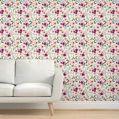 Commercial Grade Wallpaper 27ft x 2ft - Medium Scale Smaller Meadow Floral Watercolor Traditional Wallpaper by Spoonflower