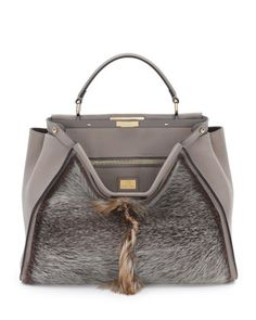Fendi Peekaboo Large Fur Tote Bag c9048ff47c99a