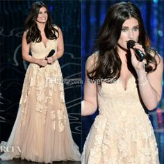 Wholesale Mother of Groom Dresses - Buy The 86th Academy Awards Oscars 2014 Idina Menzel Evening Gown Celebrity Red Carpet Dresses Deep V-Neck Backless Lace Appliques Pleats A-Line, $160.21 | DHgate
