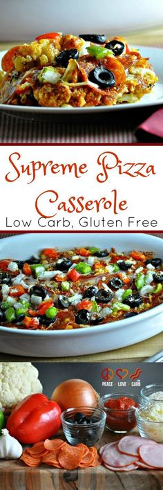 Low Carb Recipes To The Prism Weight Reduction Program Supreme Pizza Cauliflower Casserole - Low Carb, Gluten Free - This Keto Friendly Pizza Is Full Of Delicious Tasting Ingredients. Harmony Love And Low Carb Low Carb Recipes, Diet Recipes, Cooking Recipes, Healthy Recipes, Pork Recipes, Hamburger Recipes, Chicken Recipes, Potato Recipes, Macaroni Recipes
