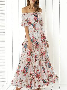 Sweet Shirred Off The Shoulder Floral Flounce Maxi Dress For Women in White | Sammydress.com
