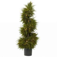 43in Cedar Spiral Topiary w-Lights