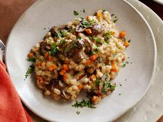 Slow Cooker Mushroom Barley Risotto - Perfect for a chilly Fall day.
