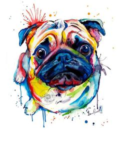 Colorful watercolor pug painting print,  good gift idea!