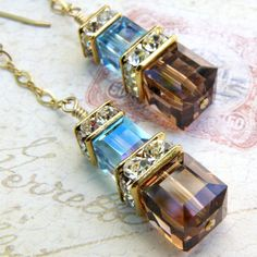 Chocolate and Blue Crystal Earrings, Gold, Bridesmaid, Wedding,... ($42) ❤ liked on Polyvore