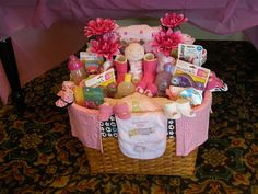 Baby shower gift basket for a girl