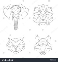 stock-vector-vector-geometric-low-poly-illustrations-set-lion-elephant-wolf-and-owl-animal-heads-340216058.jpg 1500×1600 pixels