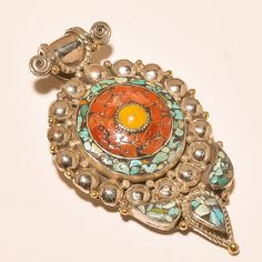 TIBETAN TURQUOISE WITH RED & YELLOW CORAL NICE LOOK .925 SILVER JEWELRY PENDANT