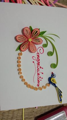 Simple bird and flower Paper Quilling Designs, Quilling Paper Craft, Quilling Flowers, Paper Crafts, Flower Cards, Homemade Gifts, Invitation Cards, Cardmaking, Birthday Cards