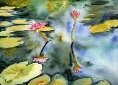 Pink lilies are reflected in a waterlily pond. This watercolor painting was painted en plein air at the PepsiCo gardens in Purchase New York and was included in a solo exhibition of Miriam Schulman's works in Elmsford New York.  For sale online as either a framed print or on gallery wrapped canvas through imagekind