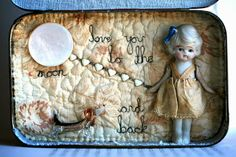 Love you to the moon and back - Vintage filled story tin, by Little Burrow Designs.  Upcycled / recycled /reworked vintage sculpture. Textiles, embroidery, mixed media, assemblage, wirework, tin art, altered tin art, www.littleburrowdesigns.co.uk www.facebook.co.uk/littleburrowdesigns