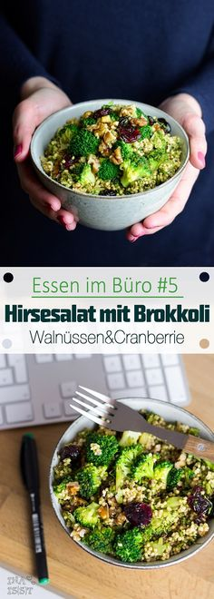 Eating in the office # 5 - millet salad with broccoli, walnuts and cr .- Essen im Büro – Hirsesalat mit Brokkoli, Walnüssen und Cranberry Food in the office # 5 – millet salad with broccoli, walnuts and cranberry - Veggie Recipes, Lunch Recipes, Seafood Recipes, Salad Recipes, Vegetarian Recipes, Chicken Recipes, Healthy Recipes, Food To Go, Food And Drink