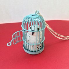 Hedwig tiffany blue cage necklace harry potter inspired handmade jewelry