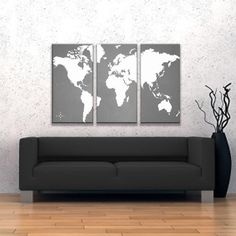 World Map Canvas Giclee Triptych - Grey and White. $185.00, via Etsy.