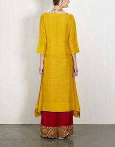 Yellow Kurta With  Embroidered Pants-Lajjoo C- img3
