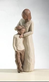 """Resting his head on his mother, the Willow Tree Mother and Son Family figurine stands at 8 inches tall and reads """"Celebrating the bond of love between mothers and sons. Willow Tree Statues, Willow Tree Figures, Willow Tree Angels, Willow Figurines, I Love My Son, Child Love, Harry Potter Village, Collection Harry Potter, Sculptures Céramiques"""