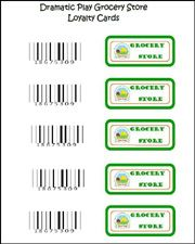 Free Loyalty Card Labels for your Dramatic Play Grocery Store via www.pre-kpages.com