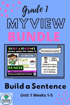 Are you new to Pearson, myView Literacy program & searching for phonics & high frequency word, worksheets & activities? This first grade, Build a Sentence Bundle, complete with pictures, Write a Sentence Checklist & Word Cards is perfect for your students. Include it in a literacy center or task list to prepare students for assessments. Available in Digital & paper version. Digital, in Google Slides allows students to see word cards in the margins to use as a reference.Great for any ELA…