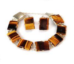 Art Deco Bracelet Tiger Eye Gemstone Sterling Silver by boylerpf
