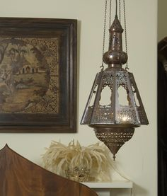 Persian Bronze Fretwork Hanging Lantern you can imagine the incense wafting through the room....