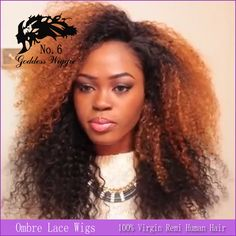 #1b #30 kinky curl  brazilian human hair ombre lace front wig with side parting for black woman free shipping
