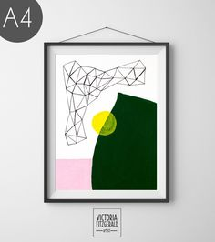 Forest Green and Blush Pink Abstract Geometric Wall Art by Victoria Fitzgerald