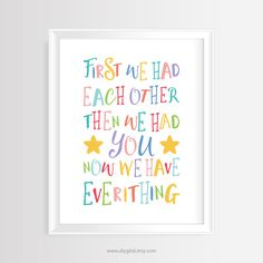 "Printable wall art-Nursery/Kids quote ""First we had each other...""–8 x 10 inches -Instant Download- Colorful Typography Poster-Home Decor by DIYgital on Etsy"
