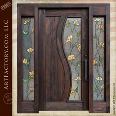 Tulip Stained Glass Custom Entry Door with Sidelights - SGD900