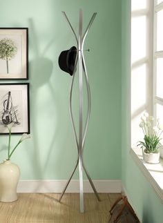 """Coat Rack - 72""""H - Silver Metal Contemporary Style"""