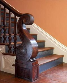 39 Inspiring Painted Stairs Ideas - Home Decorating Inspiration Escalier Art, Halls, Flur Design, Eye Candy, Newel Posts, Painted Stairs, Banisters, Railings, Stair Railing