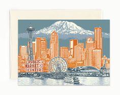 Seattle to Mt. Rainier Notecard - Seattle Washington - full color - folded Greeting Card