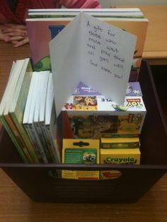 "Doing for Others: Leave a ""busy box"" in the hospital's surgery waiting room. (This one has coloring books, simple puzzles, word finds, crossword puzzles, and small Chicken Soup for the Soul books - $17 total!)"
