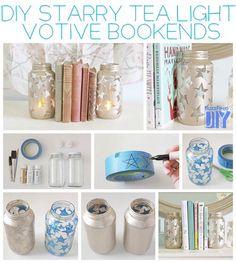 Starry Tea Light Votives (use for bookends with LED tea lights) Jar Crafts, Diy And Crafts, Glass Jars, Mason Jars, Diy Jars, Baby Dekor, Buzzfeed Diy, Diys, Deco Table