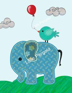 Nursery Wall Art Elephant Art print  Elephant by LittlePergola, $18.00