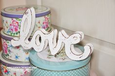 Hand painting - Vintage Wood Sign  - Shabby Chic – Love   www.dreammachineworks.com