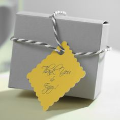 We have lovely gift boxes and personalized tags available blank stock or personalized on both products. Many different shape and size offerings on both products as well. Click here to start designing your custom gift tags http://www.foryourparty.com/products/editor/5434 $36 for 50